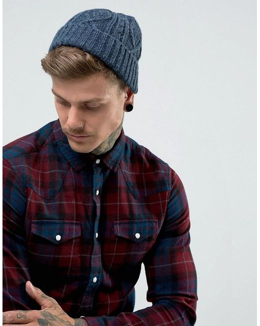 ASOS - Fisherman Beanie In Blue Cable Knit for Men - Lyst