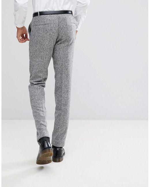 TALL Skinny Suit Trousers In Herringbone Tweed - Grey Heart & Dagger 1XJrtSOoQ