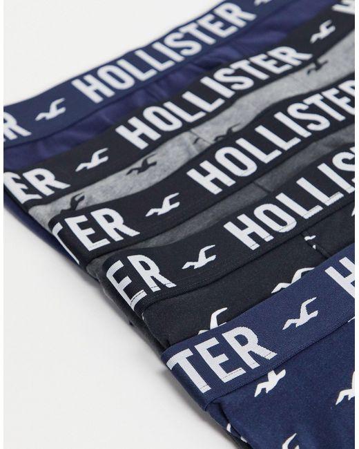 Набор Из 5 Боксеров-брифов (черные/синие/серые/белые) -многоцветный Hollister для него, цвет: Blue