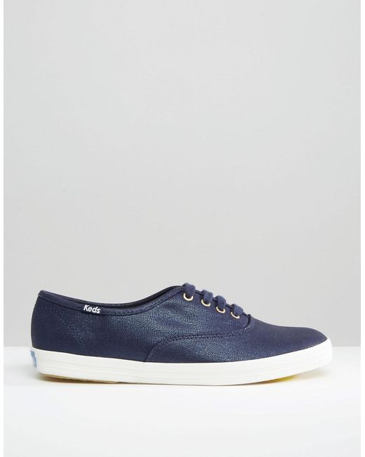 keds metallic canvas plimsoll sneakers in blue lyst
