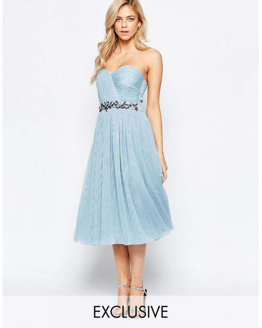 bandeau embellished midi dress with tulle