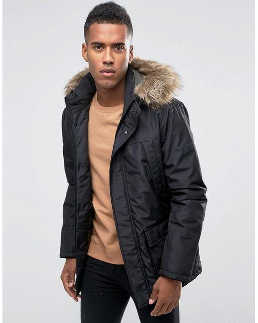 Jack & Jones | Core Parka With Faux Fur Hood - Black for Men | Lyst