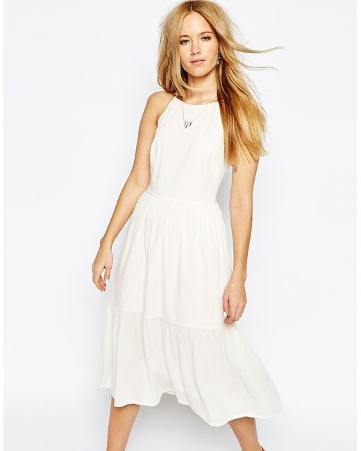 Asos Tiered Midi Sundress In Red (Ivory) - Save 40%
