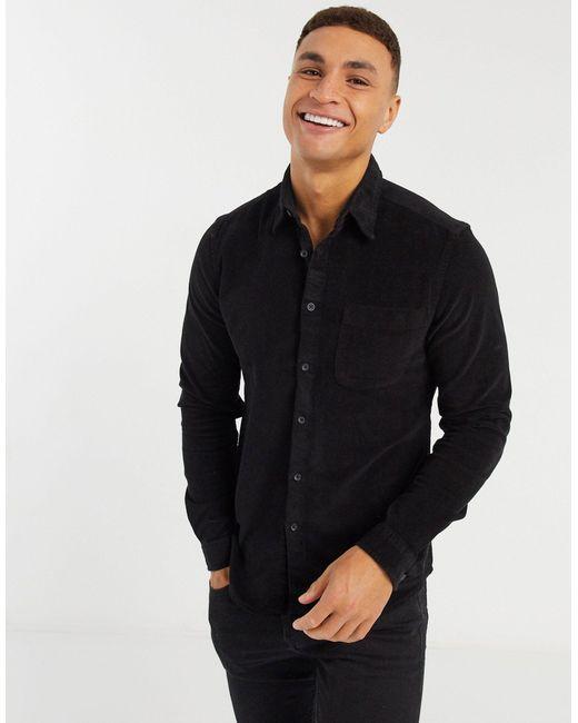 Черная Облегающая Вельветовая Рубашка ASOS для него, цвет: Black