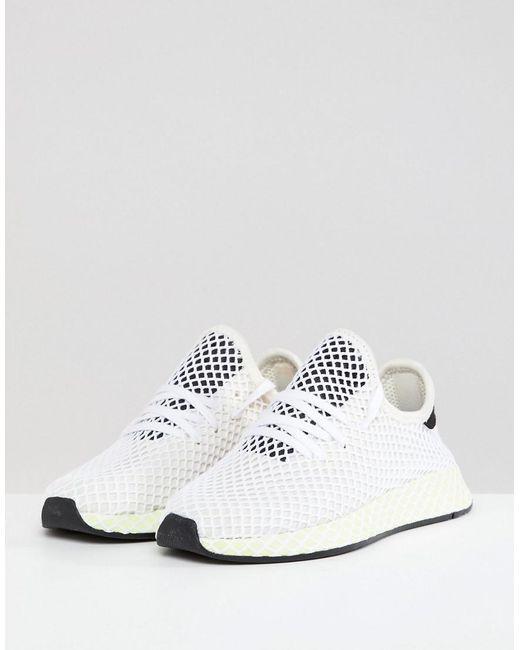 Lyst Adidas Originali Deerupt Runner Scarpe In Bianco E Giallo