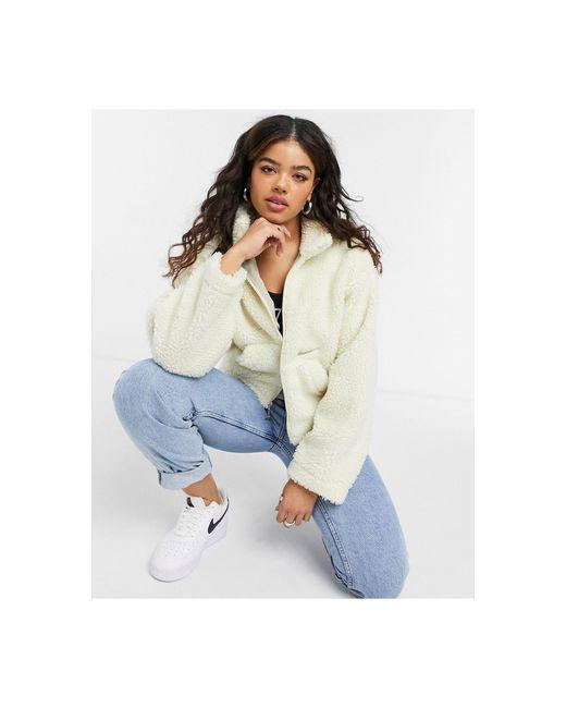 Кремовая Укороченная Куртка Из Флиса Под Овчину New Look-белый Nike, цвет: Natural