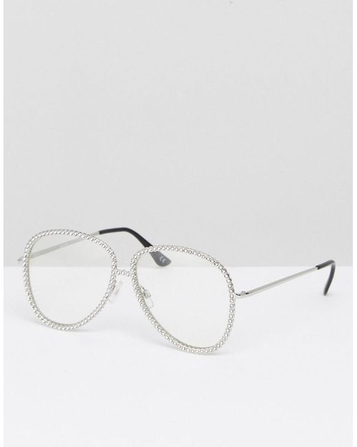 363d896ff88b0c ASOS - Metallic Lunettes aviateur style intello ornements et verres  transparents - Lyst ...