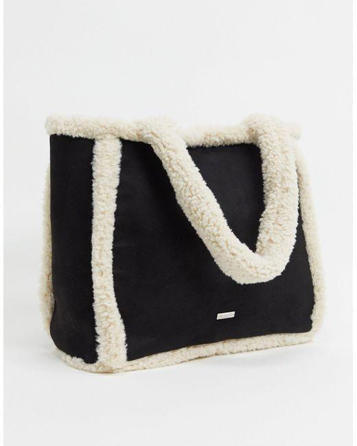 Черно-кремовая Сумка-тоут С Отделкой Искусственным Мехом -черный Цвет Skinnydip London, цвет: Black