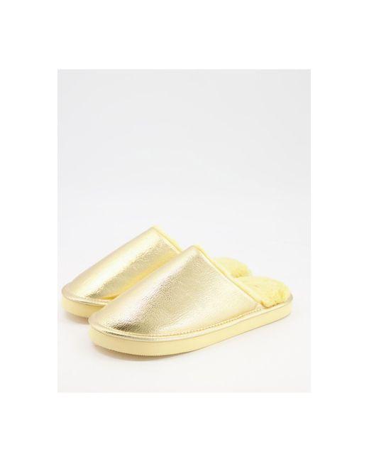 Золотистые Тапочки Из Искусственного Меха Mule-золотистый Monki, цвет: Metallic