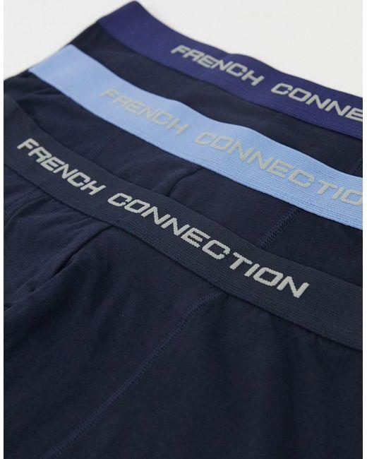 Набор Из 3 Синих Боксеров-брифов -синий French Connection для него, цвет: Blue