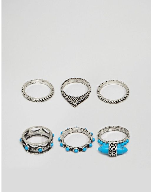 ASOS - Metallic Ring Pack With Stone Interest In Burnished Silver for Men - Lyst