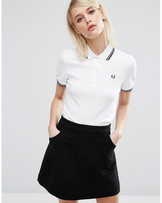 Fred Perry - White Twin Tipped Polo Shirt - Lyst
