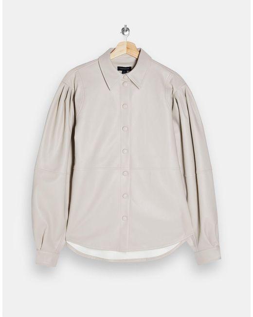 Кремовая Рубашка Со Швами Из Искусственной Кожи Idol-белый TOPSHOP, цвет: Multicolor