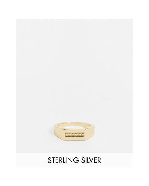 Золотистое Кольцо-печатка Прямоугольной Формы -золотистый Serge Denimes для него, цвет: Metallic