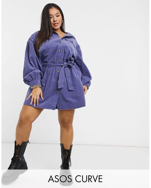 Синее Вельветовое Платье-рубашка Мини ASOS, цвет: Blue