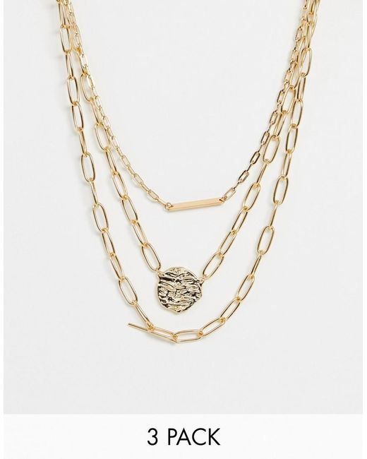 ASOS - Metallic Pack Of 3 Necklaces With Molten Disc And Bar Pendants In Gold Tone - Lyst