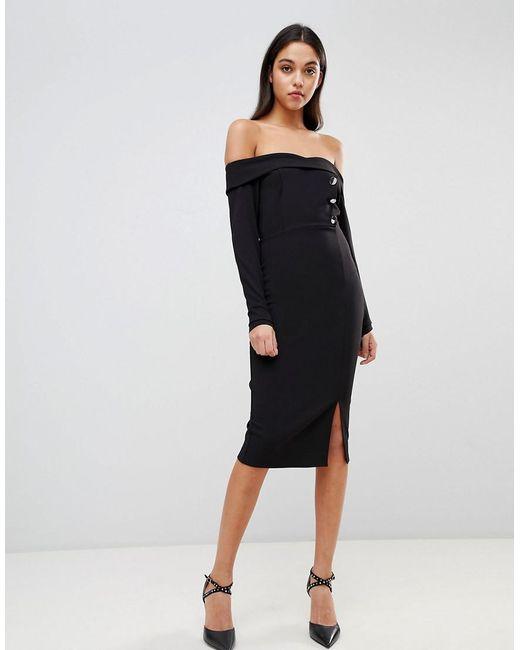 56fb09e598a4 ASOS - Black Bardot Button Through Pencil Dress - Lyst ...