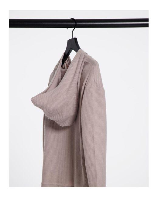 Пыльно-розовый Домашний Топ В Рубчик С Капюшоном От Комплекта New Look, цвет: Pink