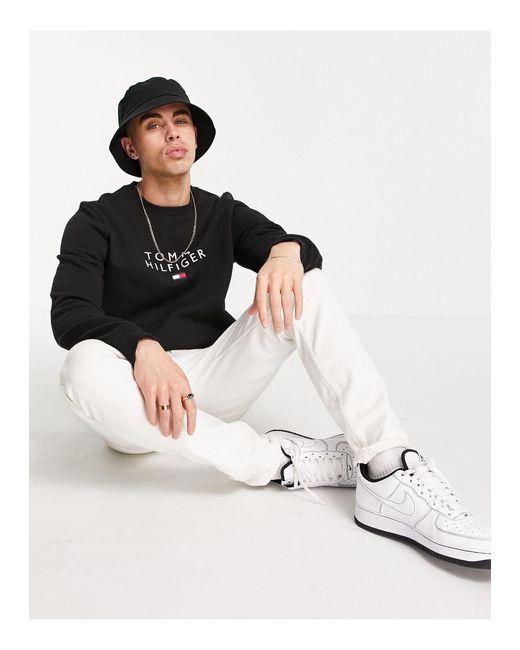 Tommy Hilfiger Black Chest Stacked Flag Logo Sweatshirt for men