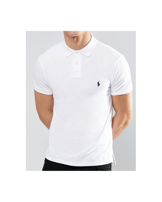 Polo Ralph Lauren White Slim Fit Polo With Logo for men
