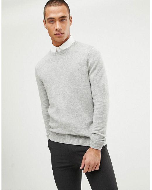 ab443cb6b06 Lyst - ASOS Lambswool Sweater In Light Gray in Gray for Men