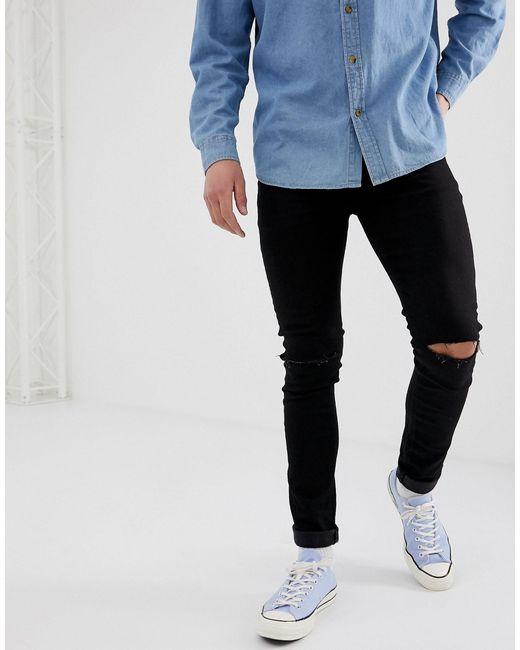 ASOS Black Super Skinny Jeans With Knee Rips for men