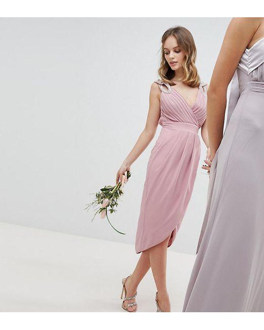 6c37be5d12a7 TFNC London - Pink Wrap Embellished Midi Bridesmaid Dress - Lyst ...