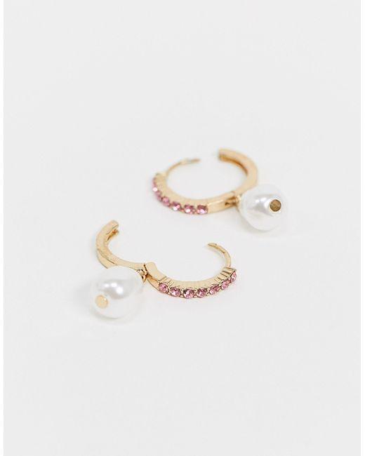 Набор Из 2 Золотистых Серег-колец С Кристаллами ASOS, цвет: Metallic