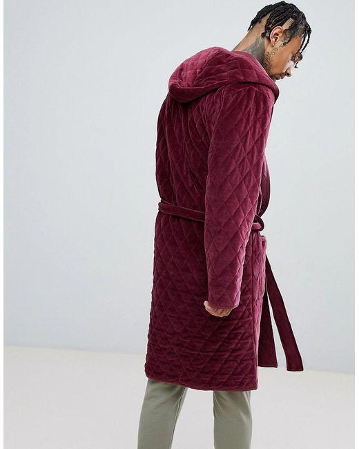 Robe De Chambre Matelassée à Capuche Velours