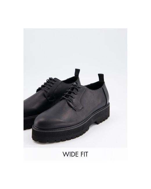 Черные Туфли Из Искусственной Кожи Для Широкой Стопы На Шнуровке И Массивной Подошве ASOS для него, цвет: Black