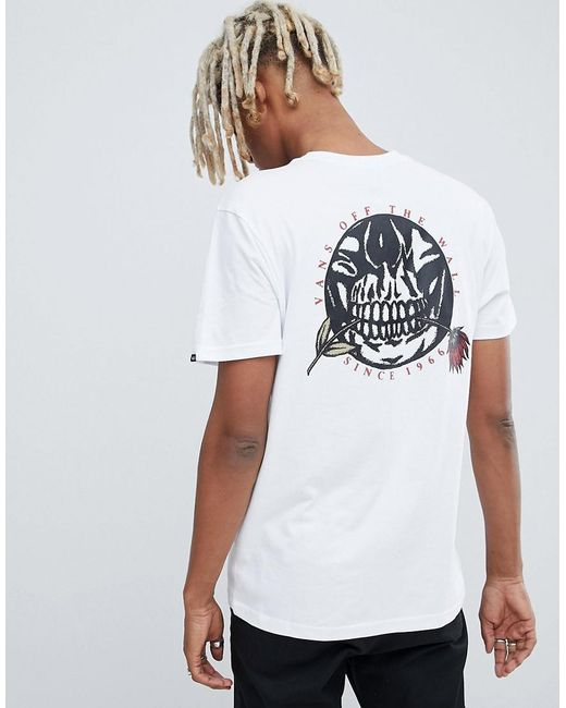 258157a4675317 Vans T-shirt With Back Print In White Vn0a3hr6wht1 in White for Men ...