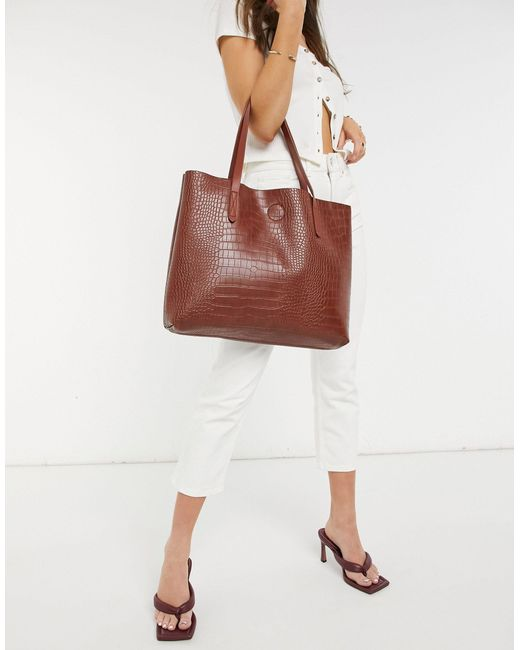 Tote bag trapèze non doublé - croco Claudia Canova en coloris Multicolor