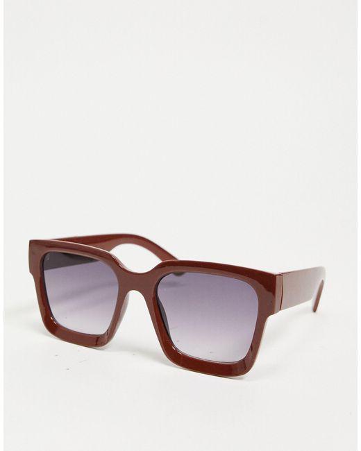 Глянцевые Коричневые Солнцезащитные Очки В Массивной Трапециевидной Оправе Из Переработанного Материала ASOS, цвет: Brown