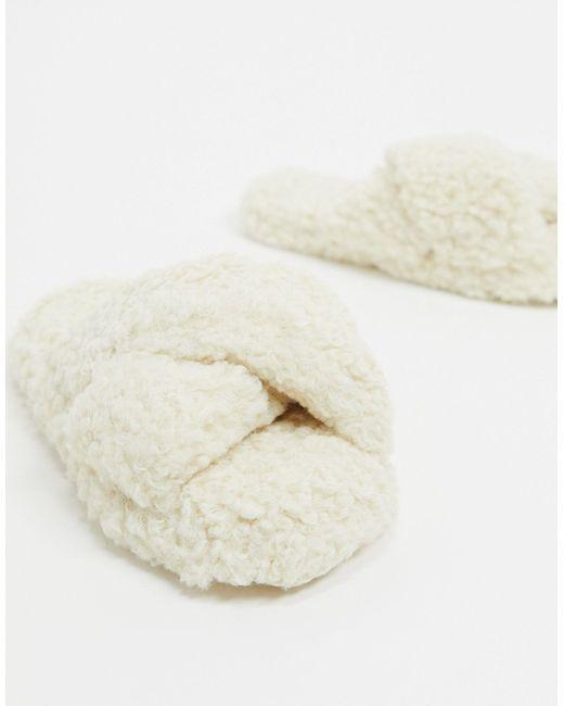 Кремовые Слиперы С Перекрестными Ремешками Из Искусственного Меха ASOS, цвет: White