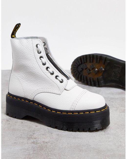 Белые Кожаные Ботинки На Платформе С Молнией -белый Dr. Martens, цвет: White