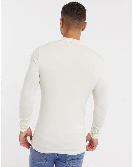 ASOS Multicolor Organic Long Sleeve Muscle Fit Jersey Polo for men