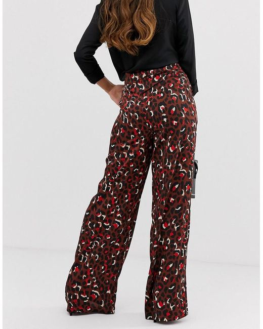 8a1d2594d5db ... Missguided - Multicolor Wide Leg Trouser In Chocolate Animal - Lyst