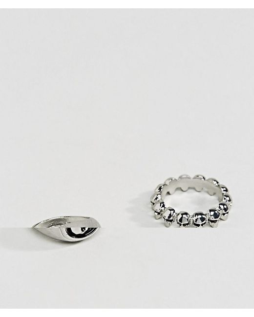 ASOS | Metallic Skull Ring Pack In Burnished Silver for Men | Lyst