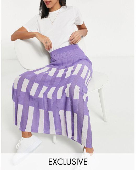 Сиреневая С Белым Трикотажная Юбка Миди В Стиле Колор-блок От Комплекта Exclusive-многоцветный Y.A.S, цвет: Purple