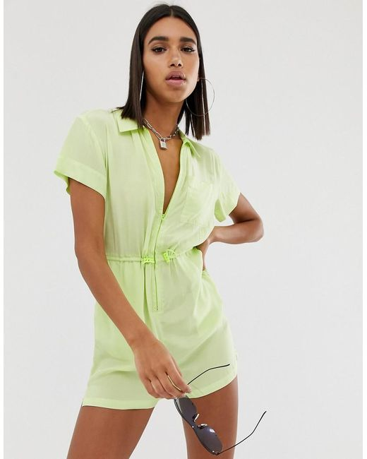 ASOS Yellow Zip Front Neon Shellsuit Playsuit With Drawstring toggle Waist