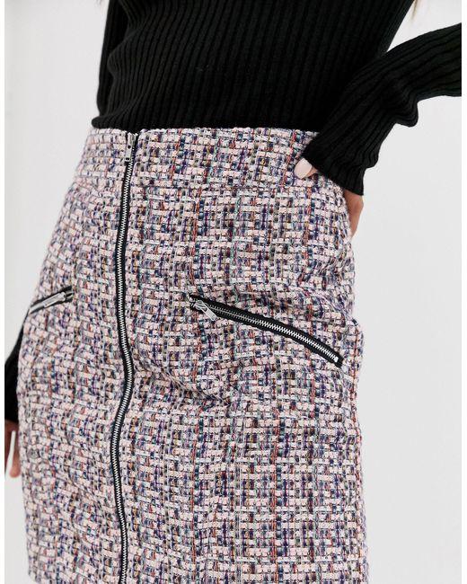 Мини-юбка Из Ткани Букле С Молнией И Карманами ASOS, цвет: Pink