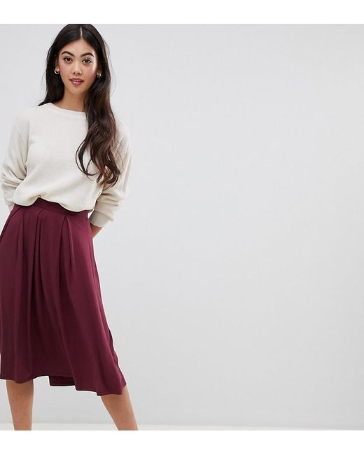 791f3eb5eb ASOS - Red Asos Design Petite Midi Skirt With Box Pleats - Lyst ...