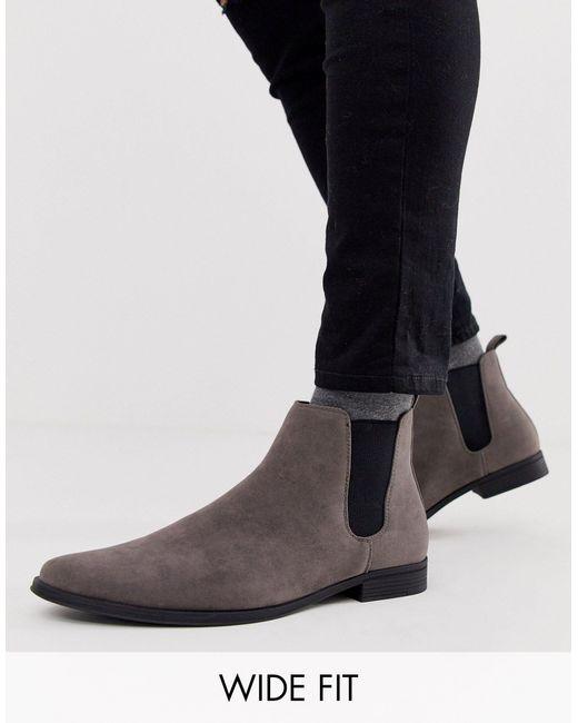 Серые Ботинки Челси Для Широкой Стопы Из Искусственной Замши ASOS для него, цвет: Gray
