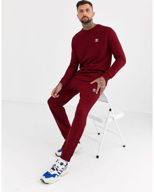 Бордовый Свитшот С Маленьким Вышитым Логотипом -красный Adidas Originals для него, цвет: Red