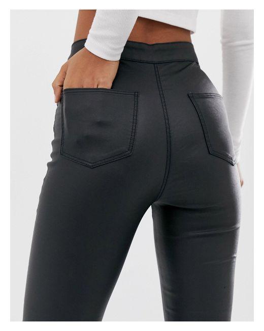 Noisy May Black – Beschichtete, enge Jeans