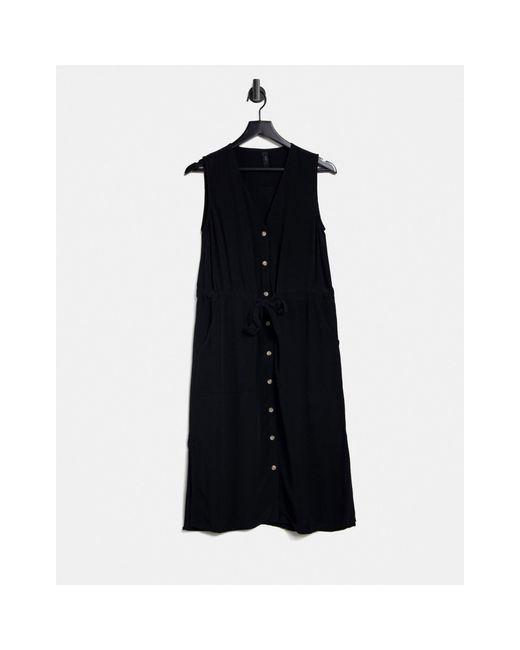 Y.A.S Black Melia Sleeveless Tie Waist Midi Dress