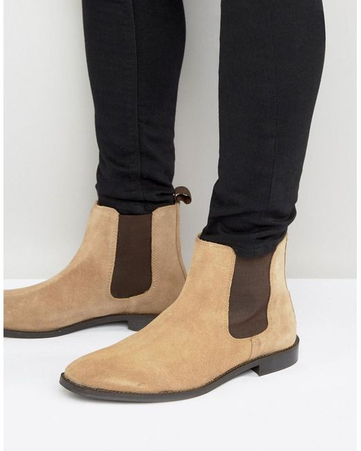 ASOS DESIGN - Brown Chelsea Boots In Stone Suede With Back Pull - Wide Fit Available for Men - Lyst