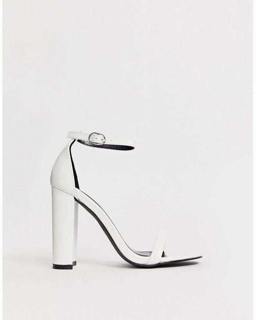a830e24e7da Women's White Snake Effect Barely There Block Heeled Sandals