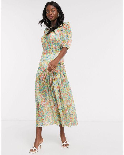 Плиссированное Прозрачное Платье Макси С Цветочным Принтом -мульти Never Fully Dressed, цвет: Multicolor