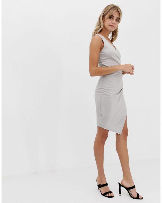 Платье С Запахом И V-образным Вырезом -серебряный AX Paris, цвет: Metallic